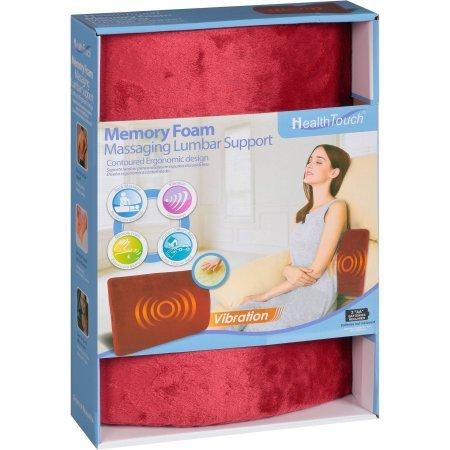 Health Touch Memory Foam Massaging Lumbar Support, Burgundy