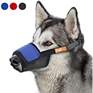 Soft Dog Muzzle Cover with Dogs Hook & Loop for Small,Medium and Large Dogs, Anti Biting and Chewing, Adjustable, Breathable(M,Blue)