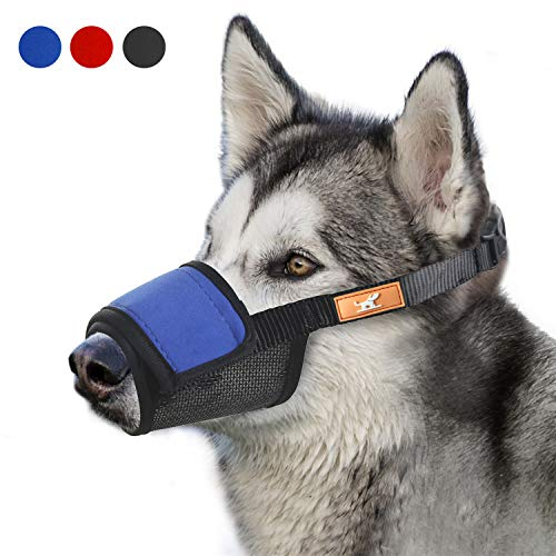 Soft Dog Muzzle Cover with Dogs Hook & Loop for Small,Medium and Large Dogs, Anti Biting and Chewing, Adjustable, Breathable(M,Blue) (Dog Small Muzzle)
