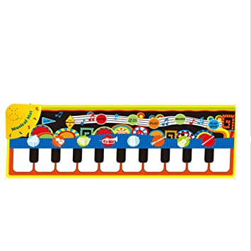 Alfombra musical Tapete electrónico para teclado musical, 43 pulgadas, 10 teclas, piso plegable