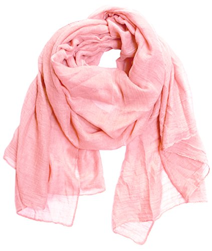 KMystic Large Plain Solid Viscose Scarf (Light Pink)