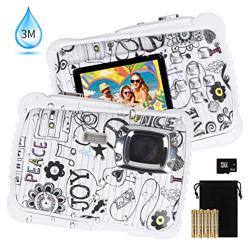 Kids Waterproof Camera, DECOMEN Digital Underwater Camera for Boys and Girls, 12MP HD Action Sport Camcorder with 2.0