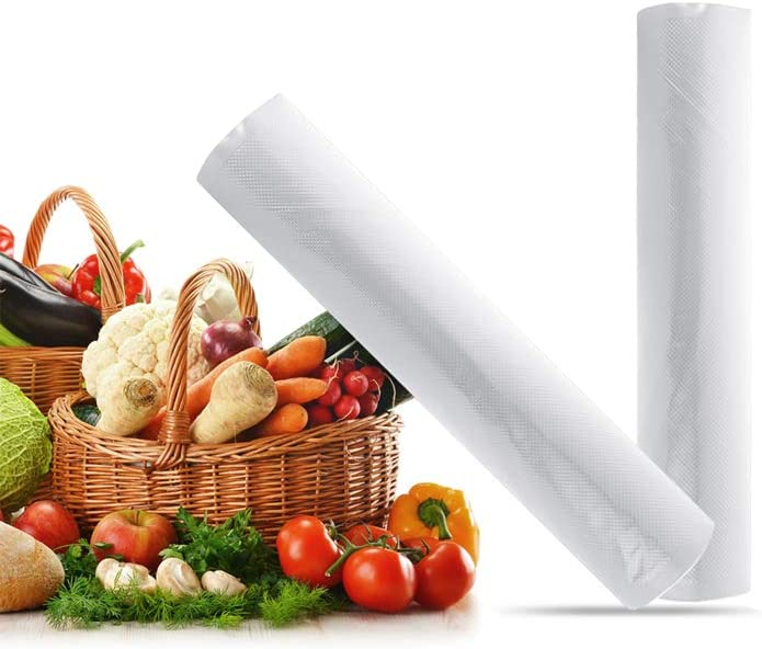 2 Rolls Vacuum Sealer Bags -Textured Vacuum Sealer Bags for Food Saver, Food Saver Vacuum Sealer Bags Rolls, Commercial Grade Vaccume Seal bags For Food,Great for vac storage, Meal Prep,Sous Vide and Foodsaver (11inX16ft)