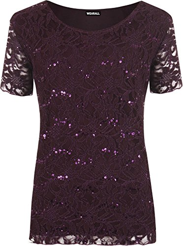 [WearAll Women's Plus Size Lace Sequin Lined Ladies Party Crochet Top - Purple - US 20-22 (UK 24-26)] (Plus Size Evening Wear)