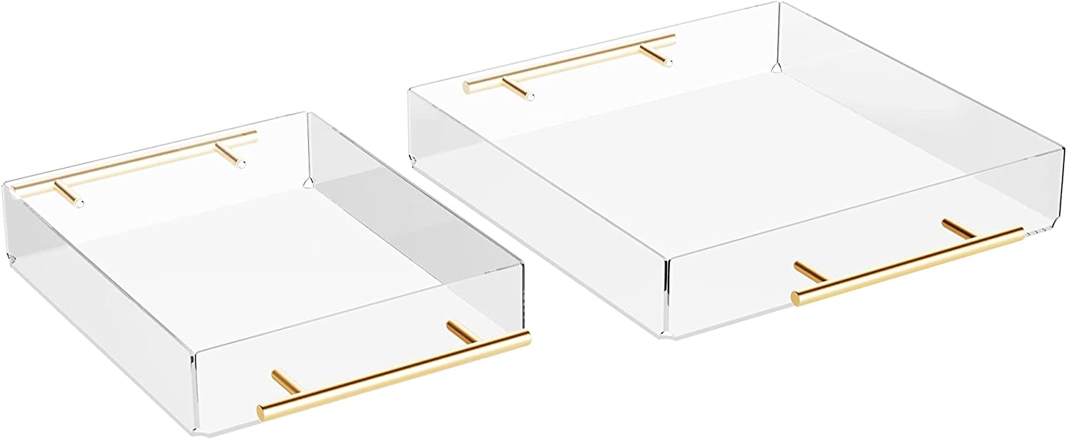 Acrylic Serving Tray with Gold Metal Handles, Set of 2 Decorative Trays, Food and Beverage Server, Lucite Tray, Home Décor, Acrylic Organizers and Storage (11x14)