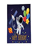 Interestlee Fleece Throw Blanket Birthday Decorations for Kids Space Lover Astronaut with Party Balloon on Blue Backdrop Multicolor