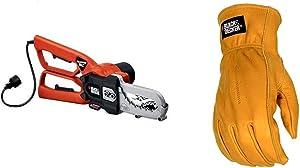 BLACK+DECKER Lopper Chain Saw, 4.5-Amp with Leather Work Glove (LP1000 & BD555L)