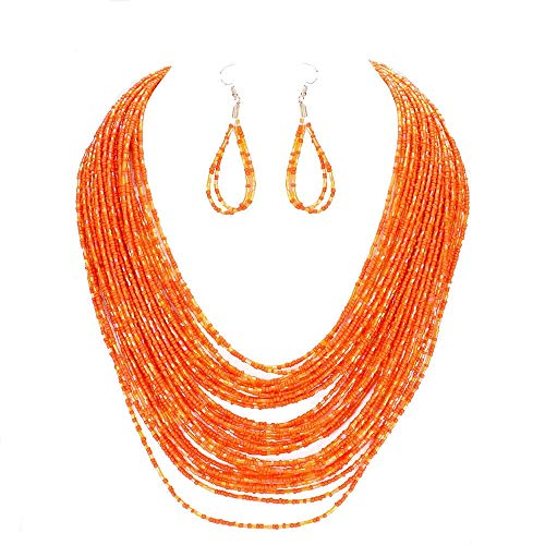 Uniklook Statement Layered Strands Colored Mini Seed Beads Beaded Chunky Wire Necklace Earrings Set Gift Bijoux - Set Earring Beaded Necklace And