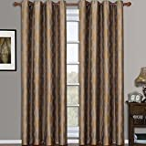 Set of 2 Panels 104″Wx84″L -Royal Tradition – SAVANNA – GOLD – Jacquard Grommet Window Curtain Panels , 52-Inch by 84-Inch each Panel. Package contains set of 2 panels 84 inch long. Review