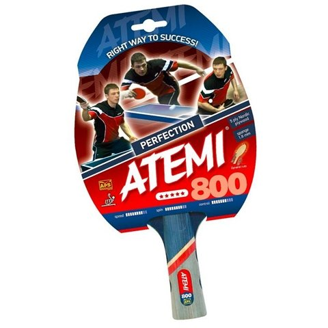 Atemi NTT 800 Pre Assembled Table Tennis Racket with Inverted Precision Rubber and Control Wood