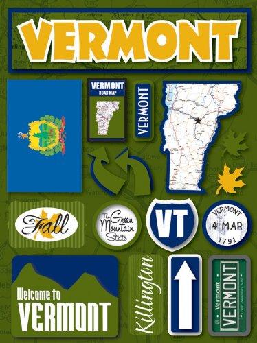 Reminisce Jet Setters Self-Adhesive Epoxy Embellishments, Vermont