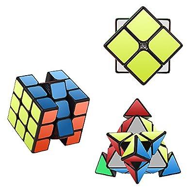 Speed Cube Set, Roxenda Magic Cube Set of 2x2x2 3x3x3 Pyramid Pyraminx Smooth Puzzle Cube by Roxenda