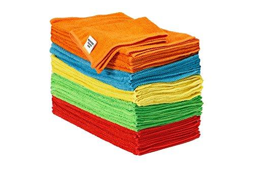 S&T Bulk Microfiber Kitchen, House, & Car Cleaning Cloths - 50 Pack, 11.5' x 11.5'