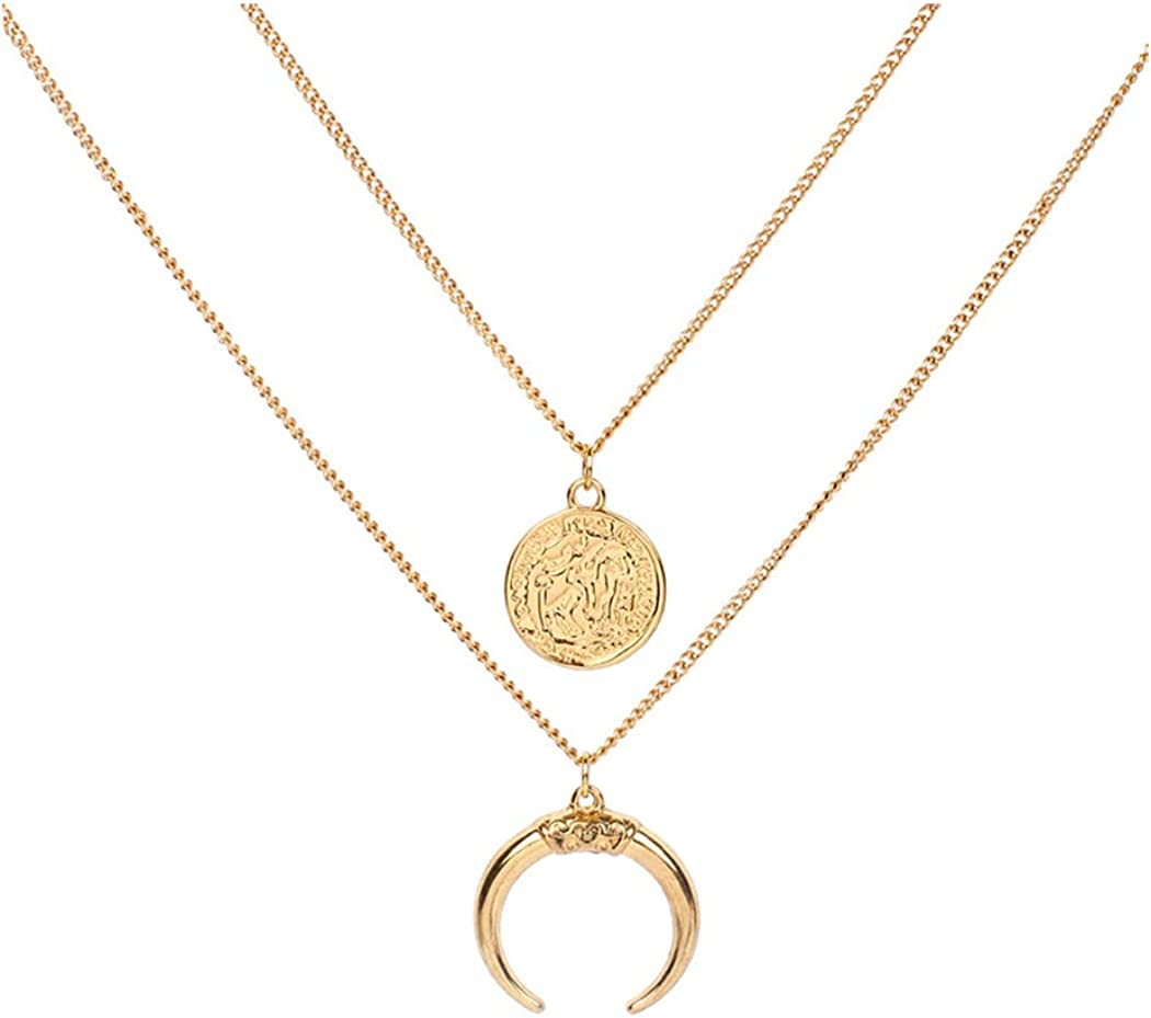 Minimalist Gold Layered Moon Crescent Necklace Dainty Gold Necklace Multi-Layered Necklace Moon Necklace Crescent Necklace Gift