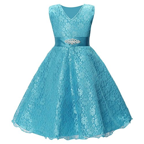 Woaills Lace Formal Pageant Gown Party Wedding Bridesmaid Dress for 5-10 Years Old Kids Girl Princess (9T, Blue) -