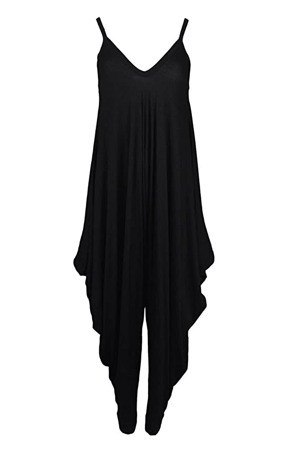 8e98f58362b Womens Ladies Lagenlook Cami Strappy Romper Baggy Hareem Jumpsuit Playsuit  Dress  Amazon.co.uk  Clothing