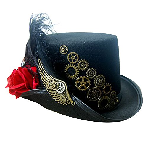 Steampunk Victorian Hat for Women Black with Metal Wing Cosplay Gothic Noble Top Hat (Red Rose) - Gothic Top Hat