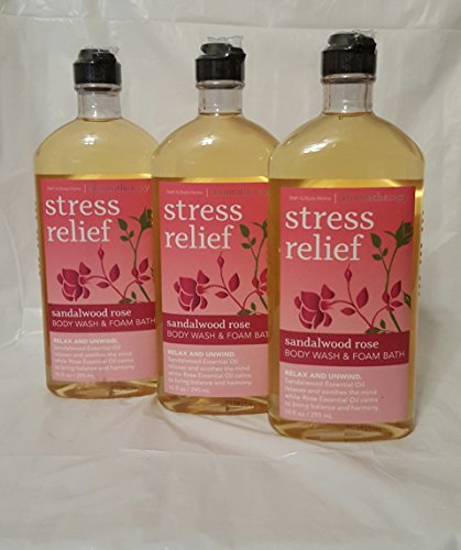Price comparison product image Lot of 3 Bath and Body Works Aromatherapy Stress Relief Sandalwood Rose Body Wash and Foam Bath. 10 OZ