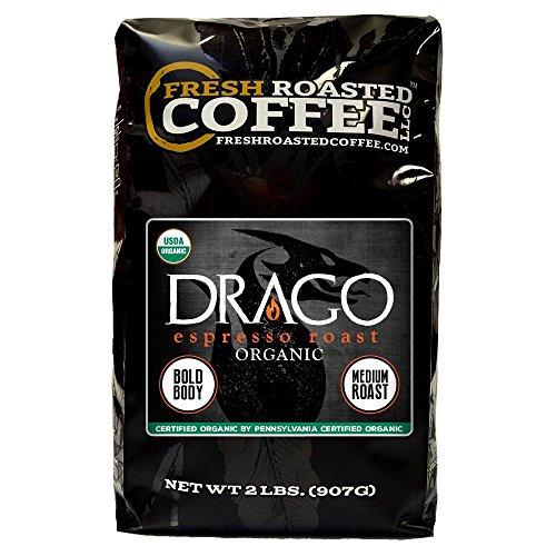 Drago Organic Espresso Artisan Blend Coffee, Whole Bean Bag, Fresh Roasted Coffee LLC. (2 LB.)