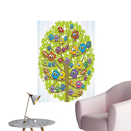 Wall Stickers for Living Room Carto Group of Fun Canary Bird mily Oak Tree Branches Animal Vinyl Wall Stickers Print,32
