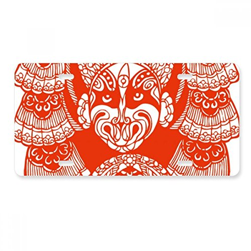 Monliyan Red Beijing Opera Mask Paper-cut License Plate Car Decoration Stainless Steel Accessory ()