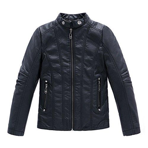 Desirca Boys Coat Pu Leather Black Thick Kids Casual Jacket Boys Waterproof Kids Jackets Coats 3-14Y