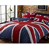 UNION JACK RED WHITE BLUE CANADIAN QUEEN (230CM X 220CM - UK KING SIZE) COTTON BLEND COMFORTER COVER SET