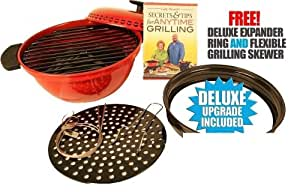 AS SEEN ON TV Minden Anytime Grill - RED FOR USE W/ GAS & electric stovetops WITH FREE DELUXE EXPANDER RING AND FLEXIBLE GRILLING SKEVER