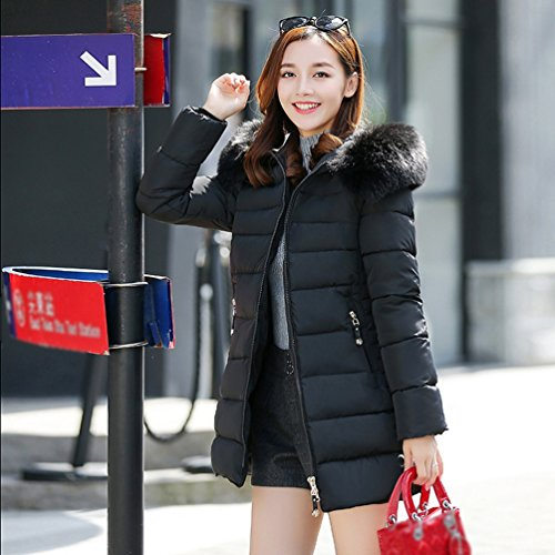 Hooded NiSeng Collar Cotton Fur Coat Winter Warm Fit Silm Black Jacket Down Padd Down Coat Long Women Long IwvPI