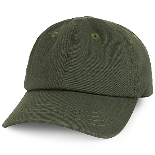 Hat Olive Baseball (Trendy Apparel Shop Baby Infant Plain Unstructured Adjustable Baseball Cap - Olive)