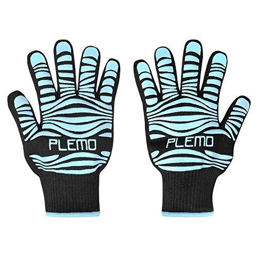 Best Price Plemo BBQ Grill Gloves, 932°F Heat Resistant Silicone Oven Mitts for Cooking, Baking, Ba...