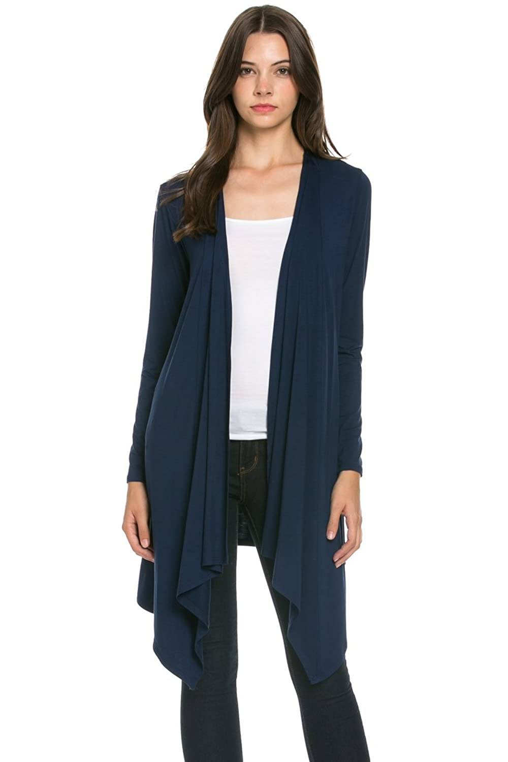 My Yuccie Women's Long Sleeve Open Front Draped Knit Cardigan