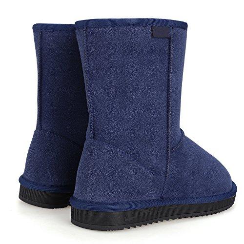 Aimado Zapatos Invierno Botas para la Nieve Calientes de Piel con Suela Antideslizante para Mujer Invierno Rain Nieve Botas Azul