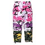 LOG SWIT Men's Camo Patchwork Cargo Pants Hip Hop Camouflage Trousers Streetwear Joggers Sweatpants Pink M