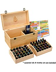 Essential Oil Box - Wooden Storage Chest With Handle & 2 Removable Trays. Holds 60 Bottles. Extra Space For Larger Items. Large Case Best For Keeping Your Oils Safe. Free EO Labels