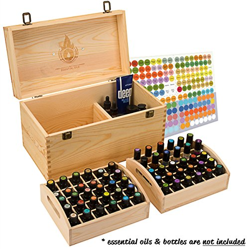 Essential Oil Box - Wooden Storage Chest With Handle & 2 Removable Trays. Holds 60 Bottles. Extra Space For Larger Items. Large Case Best For Keeping Your Oils Safe. Free EO Labels (Popular Items)
