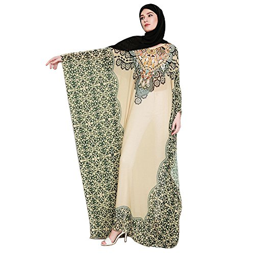 Joint Muslim Women Printing Easy Islamic Clothing Rayon Gown Middle East Long Dress
