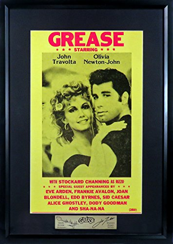 Grease Movie Mini-Poster (SGA Signature Engraved Plate Series Feat. John Travolta & Olivia Newton-John) Framed