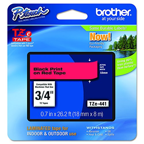 Red Label Tape - Brother P-touch Genuine TZe-441, ~3/4