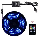 Abtong USB LED Strip Lights Sync to Music, 7.5ft/2.5M Music Led Light Strip with RF Remote Waterproof LED Strip Rope Lights USB Powered RGB LED Lights Flexible Color Changing Lights