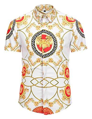 (Pizoff Mens Luxury Short Sleeve Golden Print Buttond Down Dress Shirt AL003-24-M)
