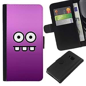 All Phone Most Case / Oferta Especial Cáscara Funda de cuero Monedero Cubierta de proteccion Caso / Wallet Case for HTC One M7 // Eyes Face Cartoon Funny Purple