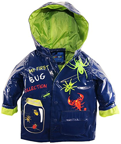 Wippette Little Boys' Toddler Waterproof Hooded Bug Collection Raincoat Jacket, Navy, 2T