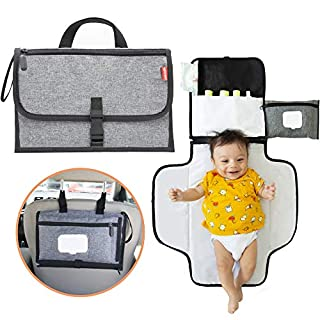 Portable Changing Pad for Baby - Diaper Bags for Baby Girl and Boy - Baby Diaper Bag for Newborn - Travel Changing Pad with Smart Wipes Pocket - Waterproof