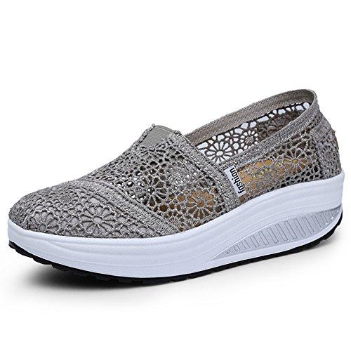 Fashiontown Women's Mesh Platform Walking Shoes Lightweight Slip-On Fitness Work Out Sneaker Shoes (Mesh Sneakers Women)
