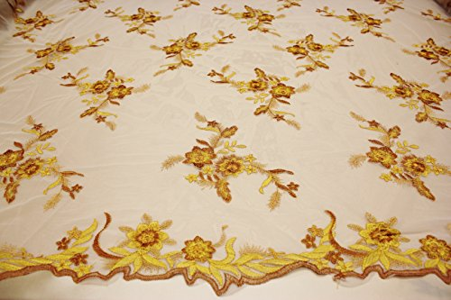 Embroidery Lace Floral Design Fabric on Nude Background Polyester Mesh (9.Yellow Gold)