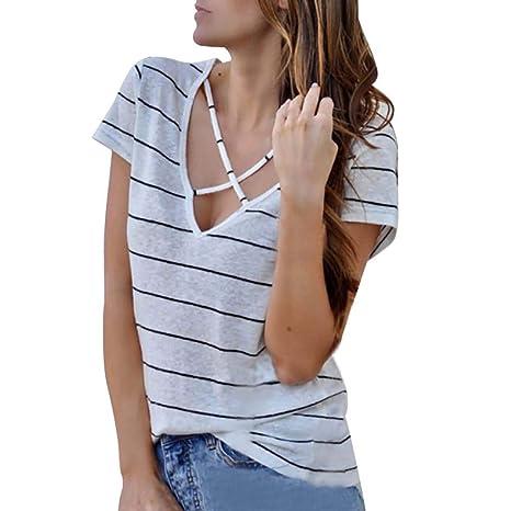 MOTOCO Camiseta A Rayas de Mujer Camiseta de Manga Corta con ...