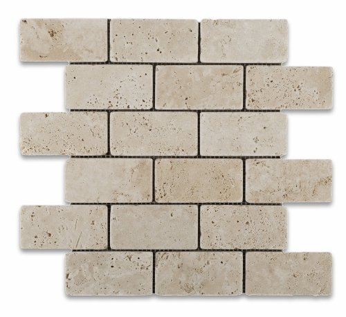 Ivory Travertine 2 X 4 Tumbled Brick Mosaic Tile - Box of 5 sq. ()