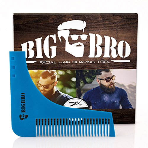 Beard Shaping Template Comb BigBro for Men/ Perfect Symmetric Lines for Mustache Goatee Side Burns Neck / Use With A Trimmer Or Razor To Style Facial Hair For Line - Different Styles Hair Of Facial