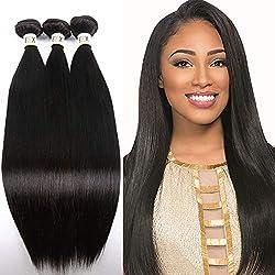FDX Human Hair Bundles,8A Straight Brazilian Hair Virgin Bundles 3 Bundles Straight Hair 100% Unprocessed 1B Human Brazilian Hair Bundles Natural Black for Women 8 10 12 inch.